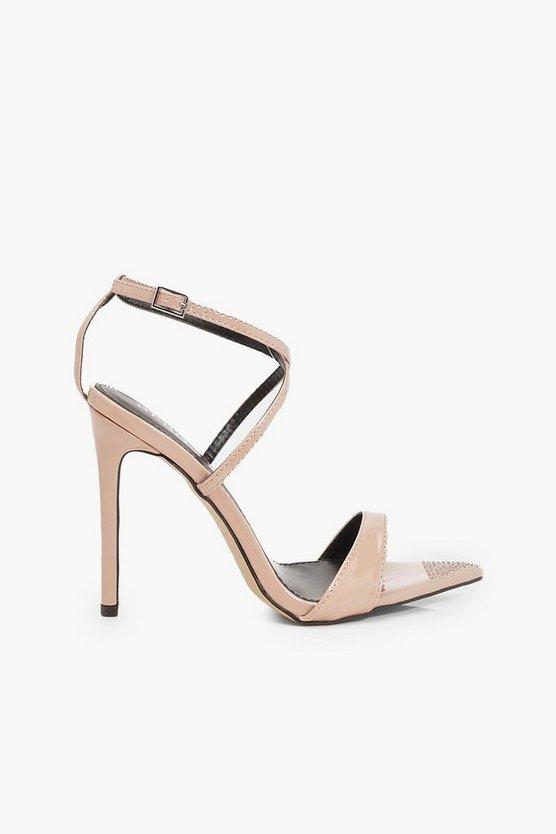 Diamante Pointed Toe Strappy Heels