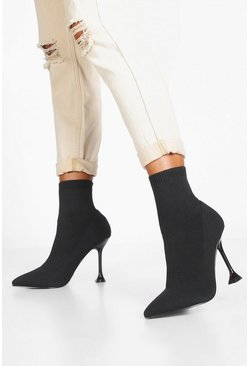 Womens Black Interest Heel Sock Boots