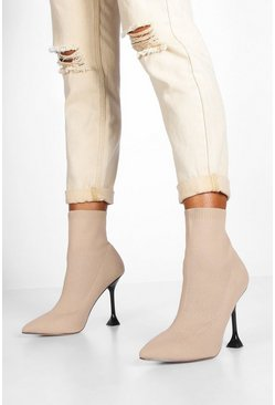 Interest Heel Sock Boots, Nude, Donna