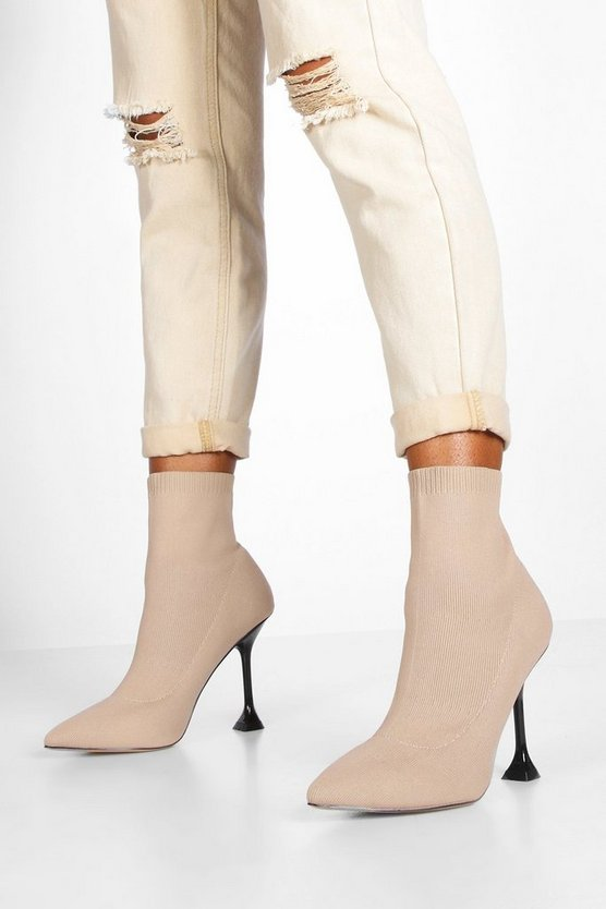 Interest Heel Sock Boots