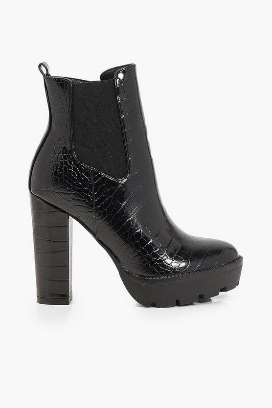 Croc Block Heel Chunky Chelsea Boots