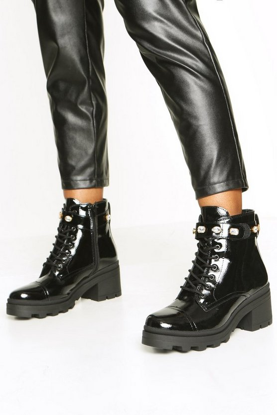 Womens Black Embellished Strap Chunky Hiker Boots