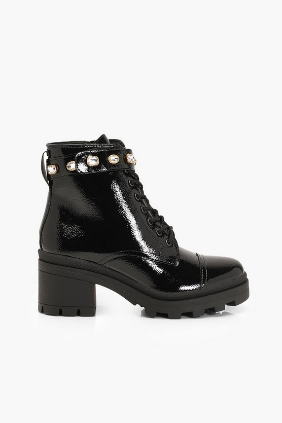 Embellished Strap Chunky Hiker Boots