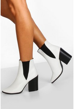 Womens White Block Heel Pointed Toe Chelsea Boots