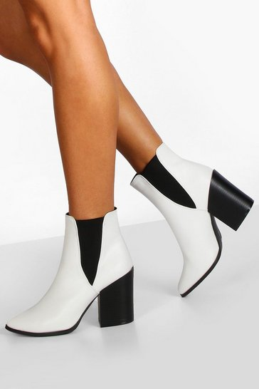 White Block Heel Pointed Toe Chelsea Boots