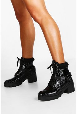 Croc Buckle Block Heel Hiker Boots, Black