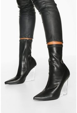 Dam Black Clear Wedge Heel Sock Boots