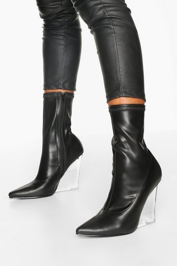 Womens Black Clear Wedge Heel Sock Boots