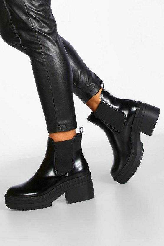 Loop Back Chunky Chelsea Boots