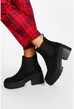 Dam Black Loop Back Chunky Chelsea Boots