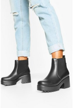 Loop Back Block Heel Chunky Chelsea Boots, Black