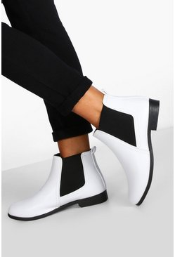 Womens White Wide Fit Pull On Chelsea Boots