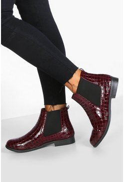 Womens Burgundy Wide Fit Croc Pull On Chelsea Boots