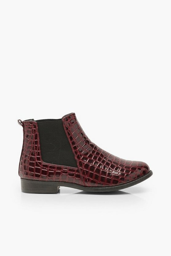 Wide Fit Croc Pull On Chelsea Boots