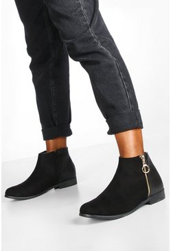 Black Wide Fit Mixed Material Chelsea Boots