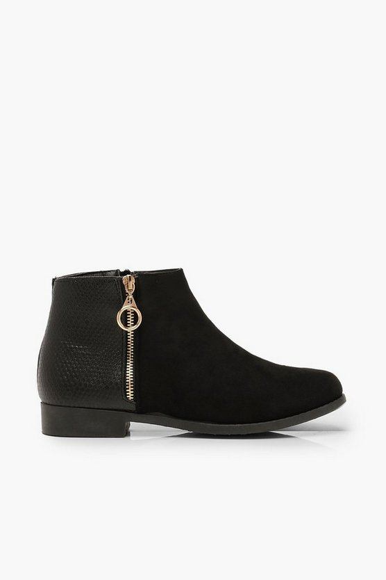 Wide Fit Mixed Material Chelsea Boots