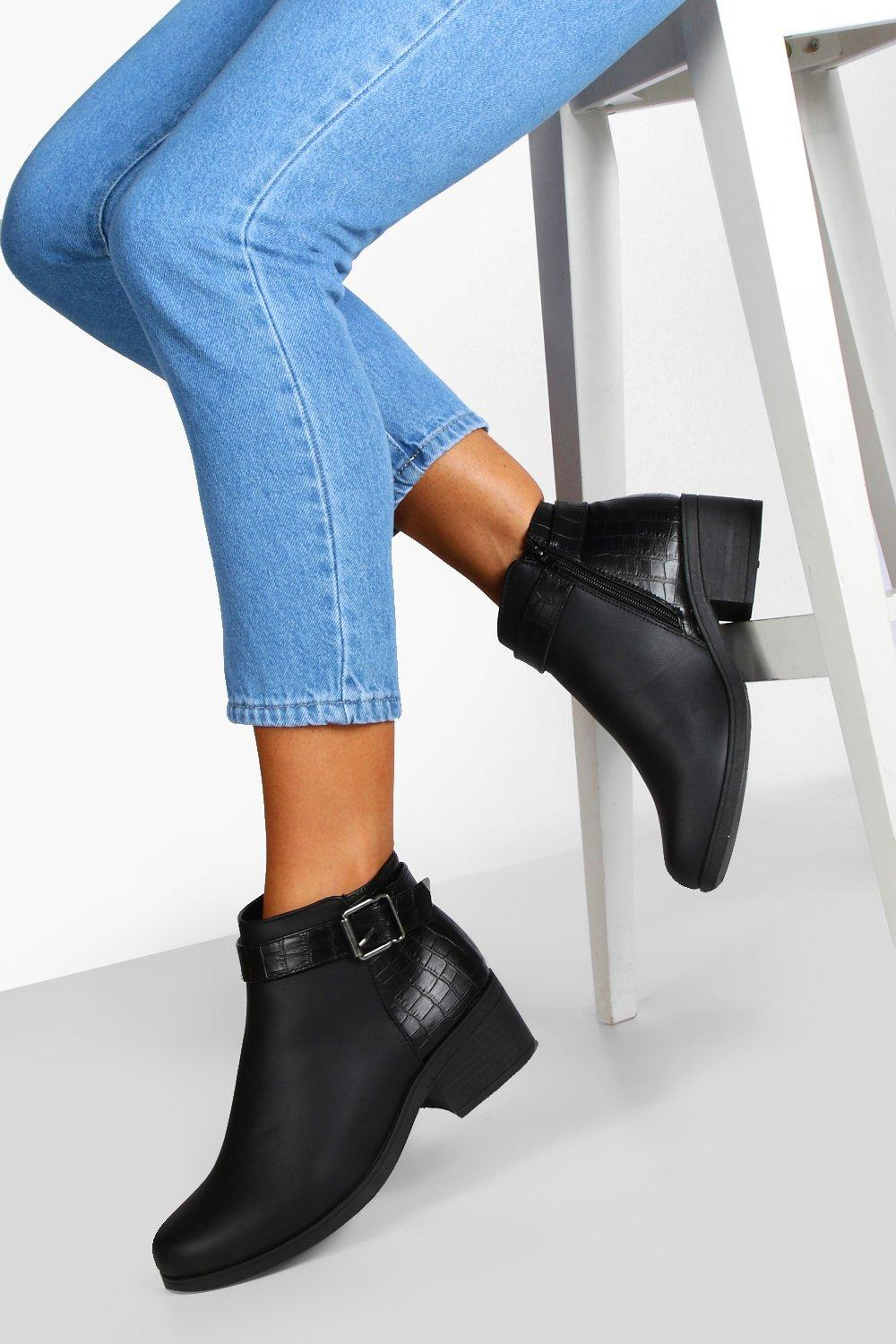 Womens Wide Fit Buckle Detail Chelsea Boots - Black - 3