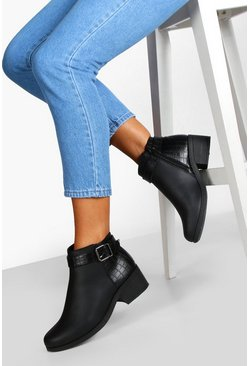 Wide Fit Buckle Detail Chelsea Boots, Black, ЖЕНСКОЕ