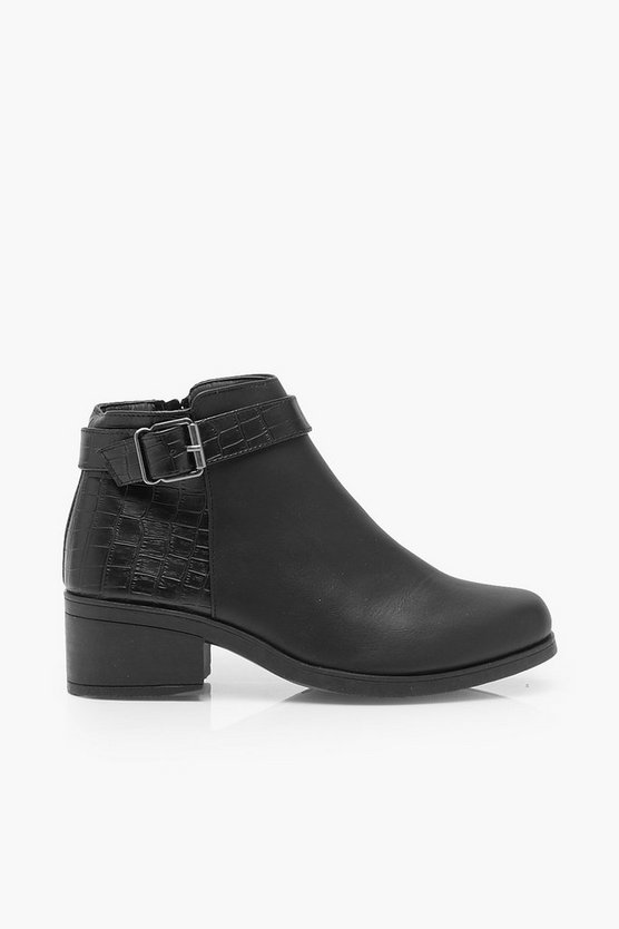 Wide Fit Buckle Detail Chelsea Boots