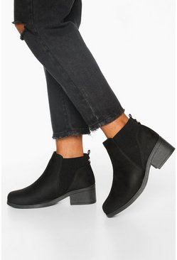 Wide Fit Basic Chelsea Boots, Black, ЖЕНСКОЕ