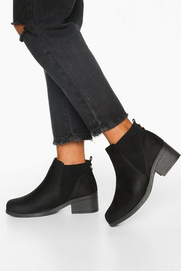 Womens Black Wide Fit Basic Chelsea Boots