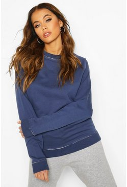 Womens Indigo Oversized Boyfriend Sweat