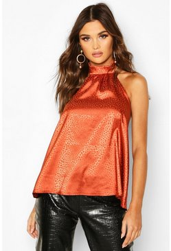 Womens Orange Hammered Satin Halter Neck Top