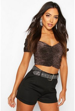 Bronze Glitter Ruched Puff Sleeve Top