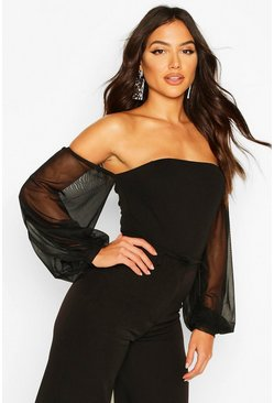 Mesh Puff Sleeve Off The Shoulder Body, Black