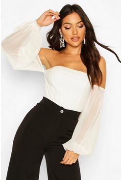 Mesh Puff Sleeve Off The Shoulder Body, Ivory