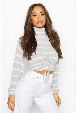 Brushed Stripy Ruched Front High Neck Top, Grey, FEMMES