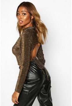 High Neck Tie Back Glitter Long Sleeve Top, Black