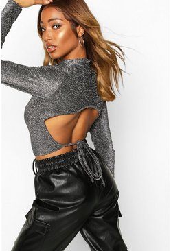 Grey High Neck Tie Back Glitter Long Sleeve Top