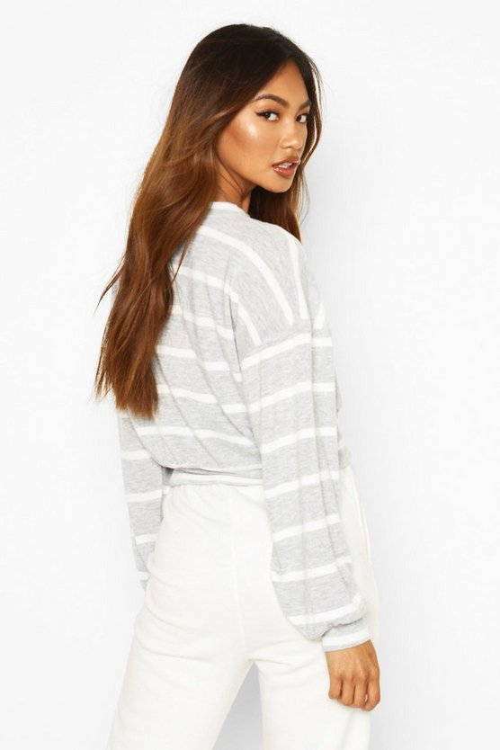 Brushed Ribbed Jersey Stripe Long Sleeve Top