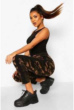 Womens Black Dark Camo Legging With Contrast Panel
