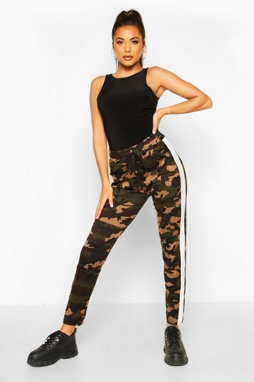 Womens White Dark Camo Legging With Contrast Panel