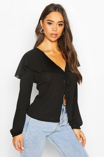 Black Woven Cape Detail Tie Front Blouse