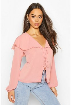 Womens Blush Woven Cape Detail Tie Front Blouse