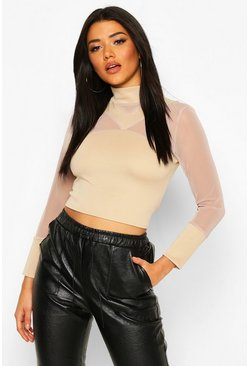 Cross Front Mesh Long Sleeve Crop Top, Stone, FEMMES