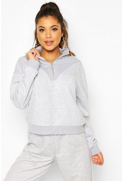 Grey Sweatshirt i fleece med hög krage