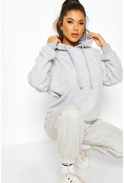 Grey Fleece Oversized Hoody