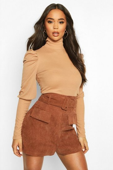 Camel Rib High Neck Puff Shoulder Top