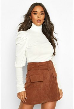Rib High Neck Puff Shoulder Top, Ivory