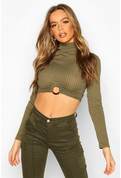Womens Khaki Rib High Neck O-Ring Long Sleeve Crop Top