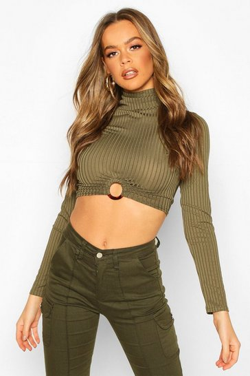 Khaki Rib High Neck O-Ring Long Sleeve Crop Top