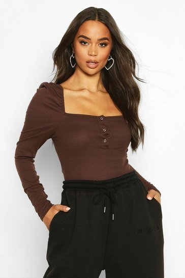 Womens Chocolate Rib Ruched Sleeve Popper Bodysuit