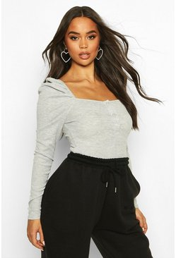 Rib Ruched Sleeve Popper Bodysuit, Grey