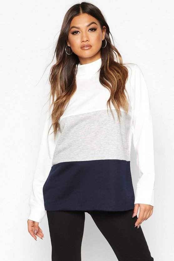 Womens Navy Colour Block Sweat Top