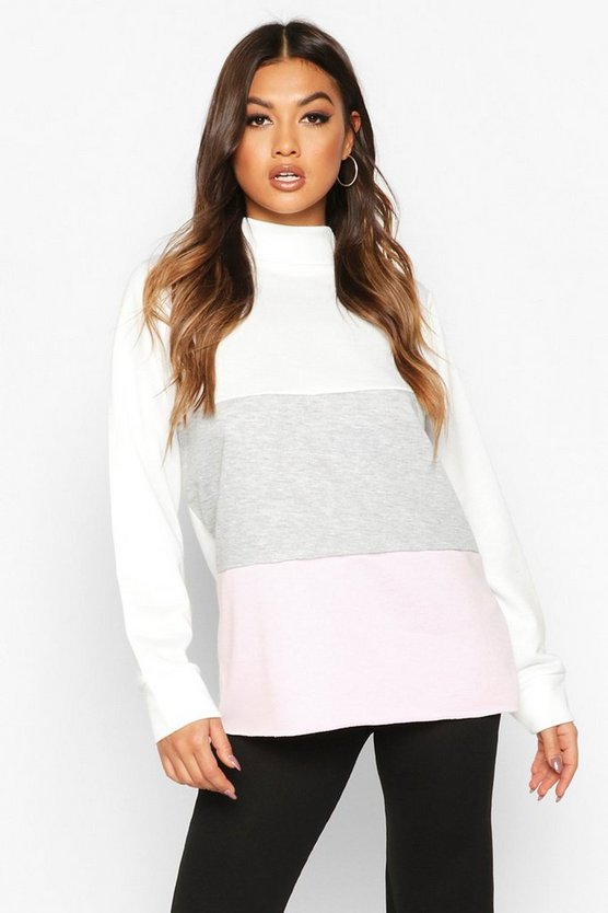 Womens Pink Colour Block Sweat Top