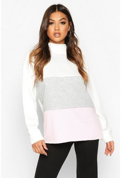 Colour Block Sweat Top, Pink, MUJER